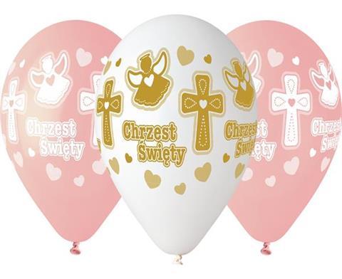 7fb78bd9c1679f Balony CHRZEST dziewczynki, 13 cali / 5 szt., Balony na święta i ...