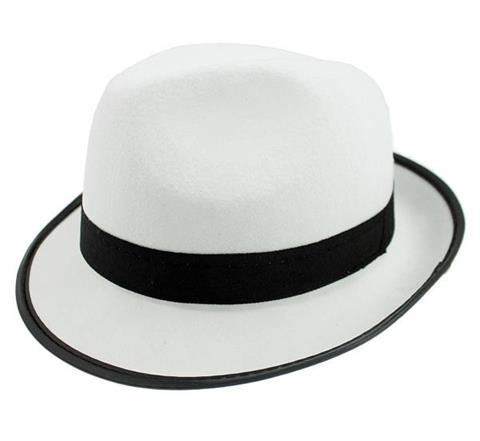 2357873bc Kapelusz GANGSTER, biały z czarną lamówką, Kapelusze - Maski ...