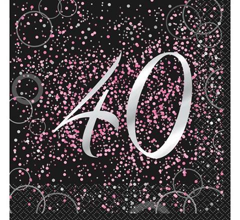 Serwetki 40 Urodziny Papierowe Glitz Różowe 16 Szt Serwetki