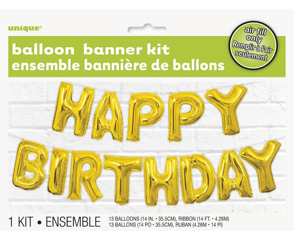 Baner HAPPY BIRTHDAY, balony litery