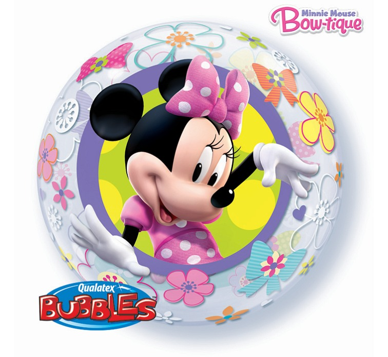 Balon foliowy 22 cali QL Bubble, MINNIE Mouse Bow-Tique