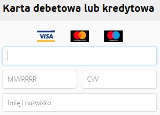 Płatność kartą debetową lub kredytową
